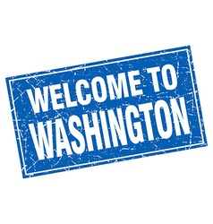 Washington blue square grunge welcome to stamp vector image