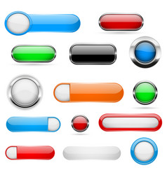 web buttons colored set 3d shiny icons vector image
