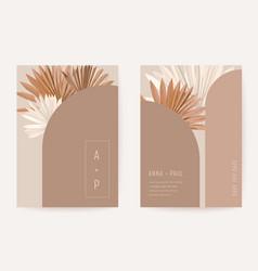 Wedding invitation minimalist card boho art deco vector