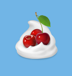 Whipped cream with cherry icon vector