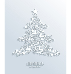 White Merry Christmas and Happy New Year tree vector image