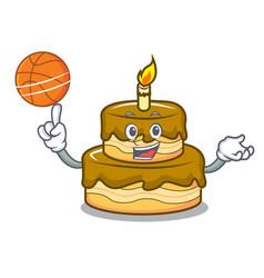 With basketball birthday cake character cartoon vector
