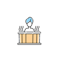 Woman in tub spa fill style icon vector