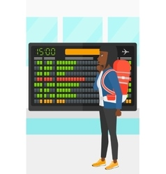Woman looking at schedule board vector