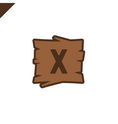 wooden alphabet or font blocks with letter x in vector image