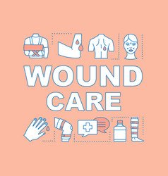 Wound care nursing word concepts banner vector