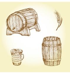Beer theme drawings vector image