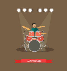 drummer playing drums in vector image