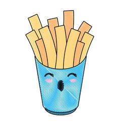 french fries fast food cute kawaii cartoon vector image