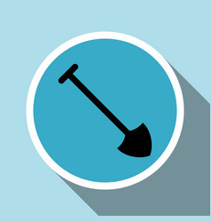shovel silhouette icon with long shadow vector image