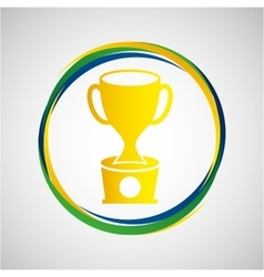 trophy award sport badge icon vector image