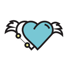 two hearts wings pen tool design blue vector image vector image
