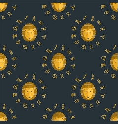 zodiac lion seamless pattern horoscope astrology vector image