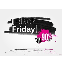 Black Friday watercolor banner with splashes vector image