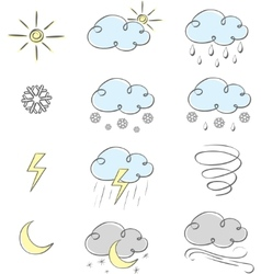 cute weather icons vector image vector image