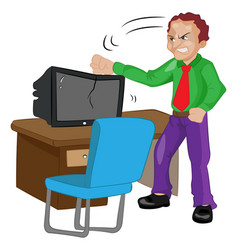Angry man pounding on a tv vector