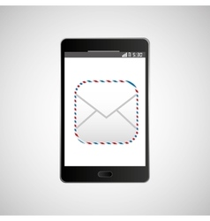 big smartphone black icon message email vector image
