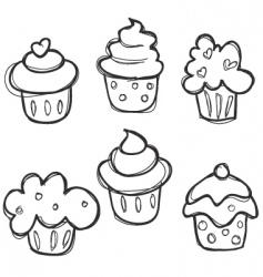 cupcake sketch vector image