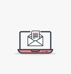 opened e mail and laptop vector image
