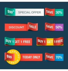 Collection of sale discount website ribbons vector image vector image