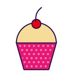 cute fuchsia cupcake cartoon vector image
