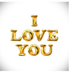 gold letter i love you balloons golden characters vector image vector image