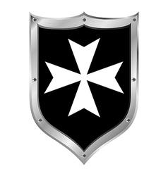 Medieval shield hospitaller order vector