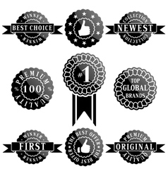Set of Premium Quality and Winner Labels vector image vector image
