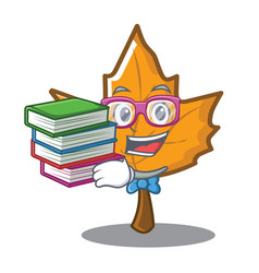 Student with book maple character cartoon style vector