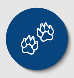 Animal tracks sign white contour icon in vector