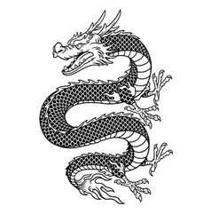 Asian style dragon in black and white vector