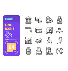 Bank line icons set vector