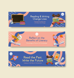 banner template with international literacy day vector image