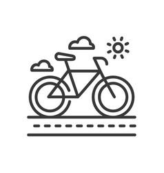 bicycle - modern single line icon vector image