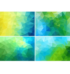 Blue and green low poly backgrounds set vector