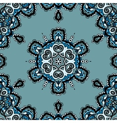 Blue seamless mandala flayer design in tribal vector