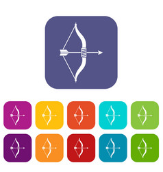 bow and arrow icons set vector image
