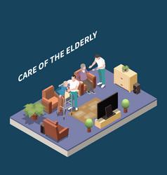 Care of elderly isometric background vector
