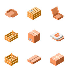 carton package icon set isometric style vector image