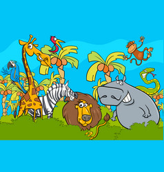 cartoon safari wild animal characters group vector image