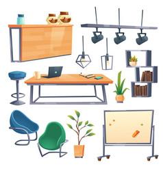 cartoon set coworking office interior vector image