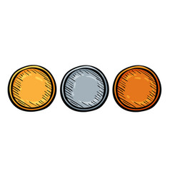 champion gold silver and bronze medal vector image