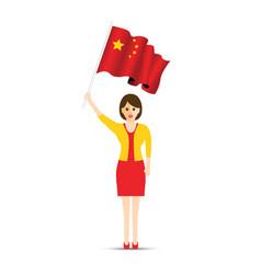 china flag waving woman vector image