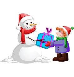 Christmas Snowman Gives Present To Boy vector
