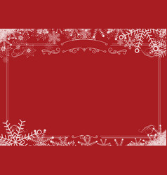 Christmas winter snowflake retro border and red vector