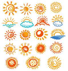 color hand drawn sun symbol icon isolated set vector image