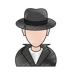 color pencil cartoon half body faceless hacker vector image