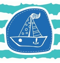 Cute boat on a striped blue background vector image
