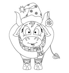 cute bull chinese new year 2021 year ox a vector image
