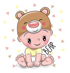 Cute cartoon baby boy in a bear hat vector